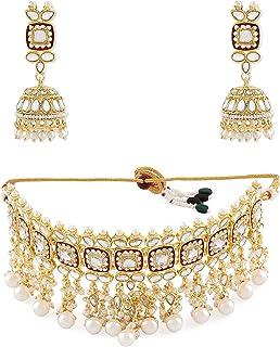 Zaveri Pearls Red Meenakari Kundan Choker Necklace & Jhumki Earring Set For Women-ZPFK11235