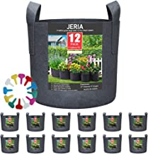 JERIA 12-Pack 3 Gallon, Vegetable/Flower/Plant Grow Bags, Aeration Fabric Pots with Handles (Black), Come with 12 Pcs Plant Labels