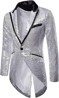Cloudstyle Mens Sequin Tailcoat Swallowtail Suit Jacket Party Show Tux Dress Coat