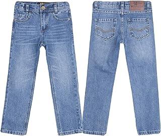 justfound4u Pantalones vaqueros de diseñador para niños, elásticos, cintura ajustable, color carbón, negro, azul y gris, p...