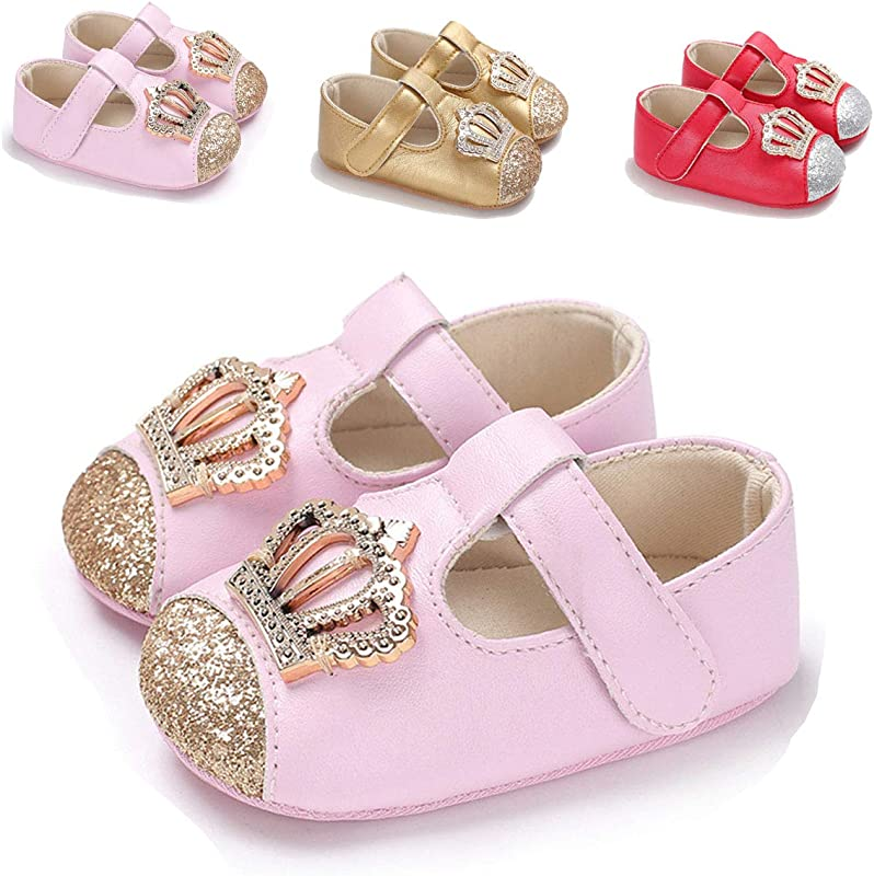 ENERCAKE Infant Baby Girls Mary Jane Flats Non Slip Soft Soled Toddler First Walkers Crib Shoes Princess Dress Shoes