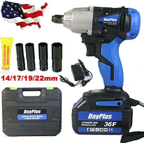 """18V Cordless Impact Wrench 1/2"""" Keyless Chuck High Torque 420N.m 6000mAH Lithium-Ion Battery, with 4Pcs Sockets Fast Charger and Carry Case, Lightweight Portable Tool Kit for Home Auto Repair"""