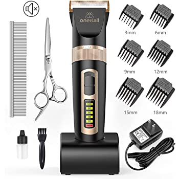 oneisall Dog Clippers Professional, 2-Speed Quiet Rechargeable Cordless Pet Grooming Hair Clippers Set for Small and Large Dogs Cats-Black