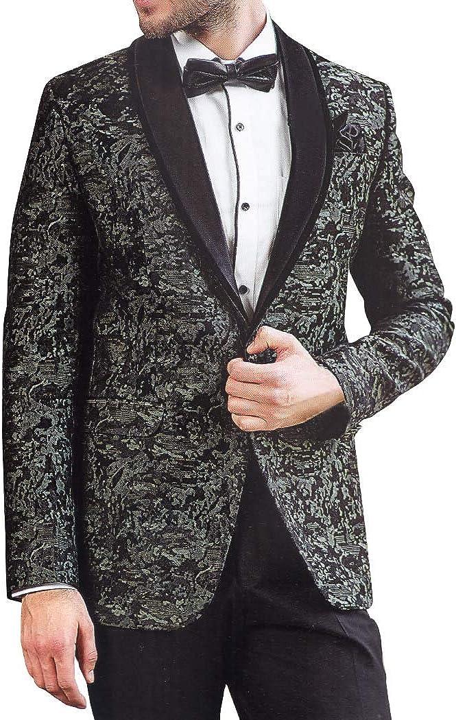 INMONARCH Mens Slim fit Casual Black Polyester Blazer Sport Jacket Coat SB63XL50 50 X-Long Black