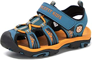 Athlefit Boy's Girl's Closed Toe Hiking Water Sandals Kids Walking Sports Support Sandals Outdoor (Toddler/Little Kid/Big ...
