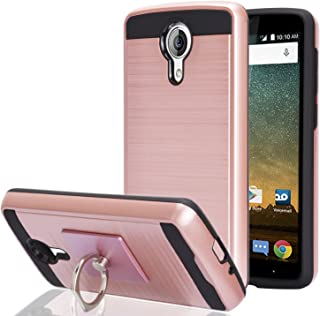 ZTE N817/Uhura/Ultra/Quest Case With Phone Stand,Ymhxcy [Metal Brushed Texture] Hybrid Dual Layer Full-Body Shockproof Protective Cover Shell For ZTE N817-LS Rose Gold