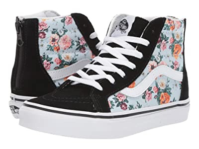 Vans Kids Sk8-Hi Zip (Little Kid/Big Kid) ((Garden Floral) True White) Girls Shoes