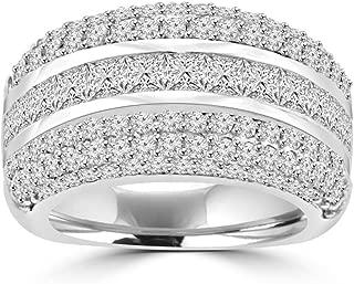 Madina Jewelry 4.10 ct Ladies Princess and Round Cut Diamond Anniversary Ring in 14 kt White Gold