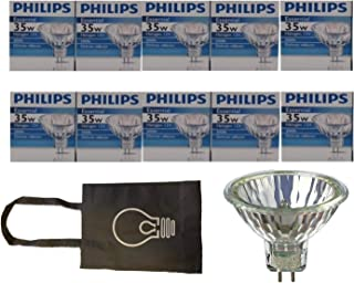 Philips Halogen Light Bulbs/Landscape Indoor or Outdoor Flood/Dimmable 35w Mr16 12v 2 Pin 36 Angle Gu5.3 Base - Pack of 10 Bundle with Storage Bag