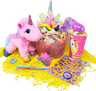 JGT Unicorn Easter Basket for Girls Kids DIY Gift Set with Stuffed Unicorn Headband Unicorn Themed Goodies Slime Lipgloss Bracelet Ring Stickers Assorted Bubbles Chalk Bundle & Assorted Goodies Girl