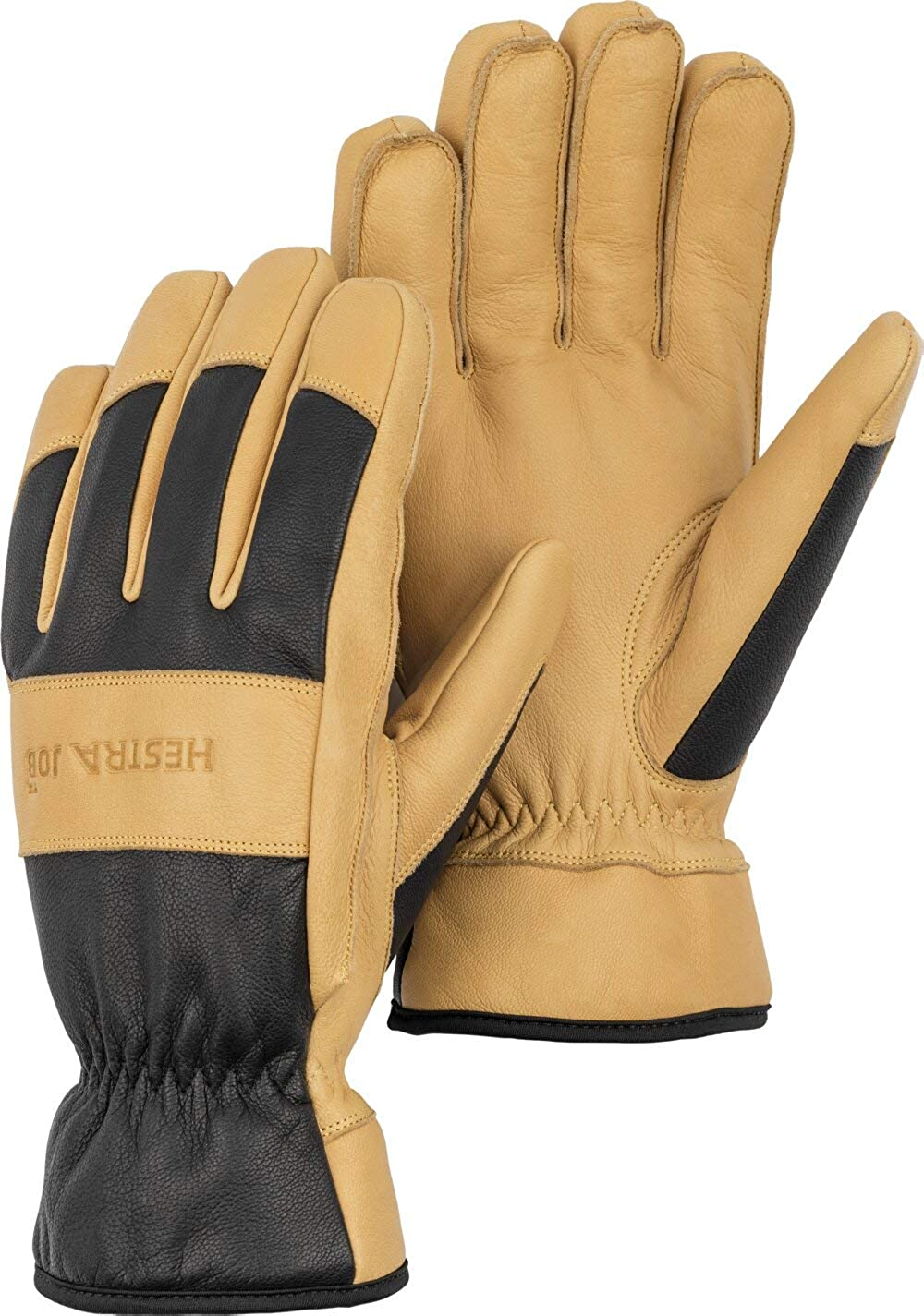 HESTRA 73040-701-09 Glove,Leather,Goatskin,Black//Tan,L