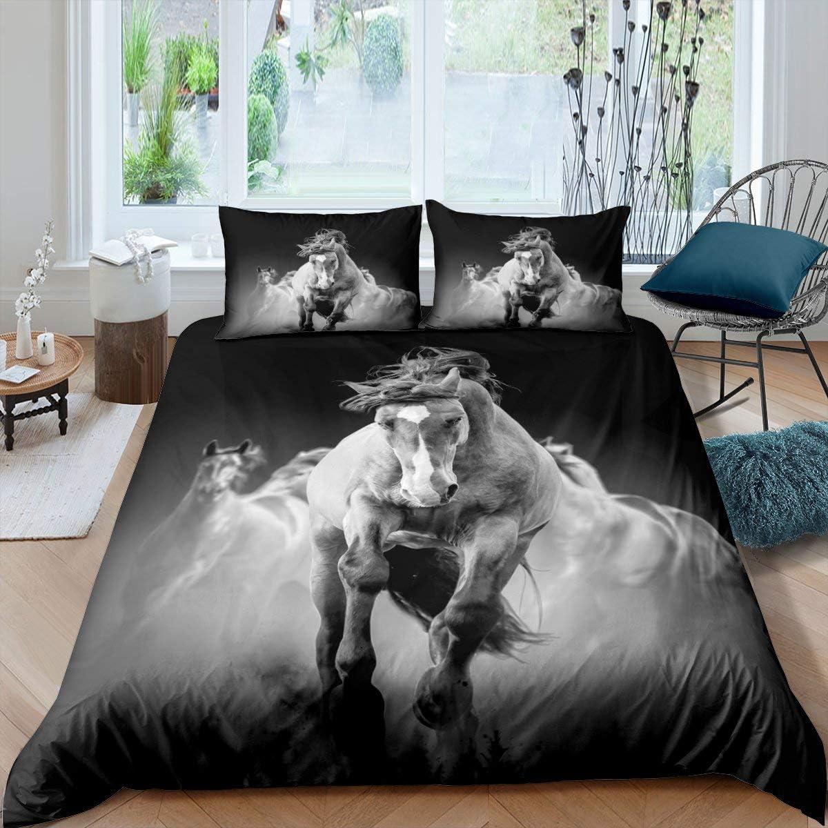 Erosebridal Adults Horse Comforter Cover Running C 豊富な品 人気急上昇 Duvet Horses