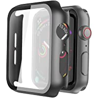 Misxi PC Slim Tempered Glass Screen Black Hard Case with Protective Cover for iwatch (Black)