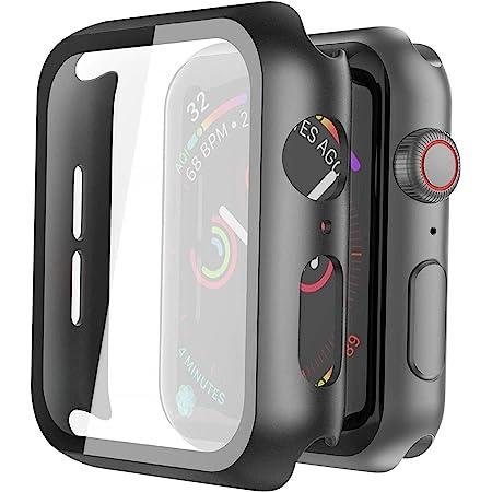 Misxi Negro Fundas Apple Watch Serie 6 / SE/Series 5 / Serie 4 40mm con Protector de Pantalla Cristal Templado [2-Piezas], HD Protección Completa Carcasa para iWatch - Negro