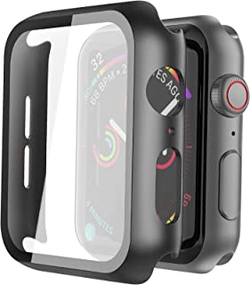 Misxi Black Hard Case Compatible with Apple Watch Series 5 Series 4 44mm with Screen Protector, Hard PC Case Slim Tempered...