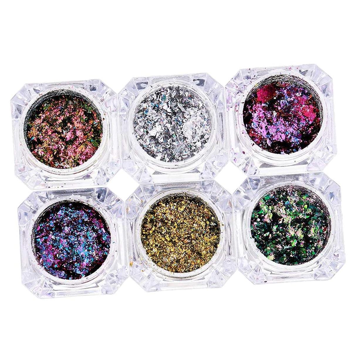 魔女鷹瞳Sharplace 混合色 ネイルアート装飾 6個セット 化粧品 キラキラ スパンコール メイクアップ 飾り