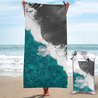 Modern Artsy Teal Blue Black Ocean Beach Waves Microfibre Towel Quick Dry Compact Gym Lightweight Absorbent Travel Towel W...