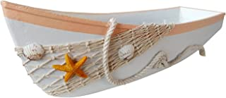 """Attraction Design Wooden Beach Theme Display Boat Tray with Fish Net and Star Fish/Shell 17"""" L"""