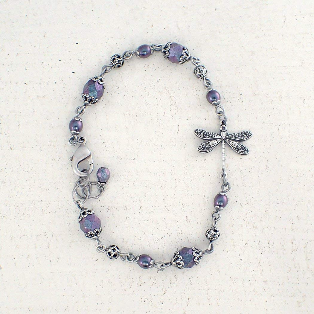 Aqua Blue Free shipping anywhere in the nation and Lavender Beaded Antiqued with Bracelet 5 popular Silver-Plat