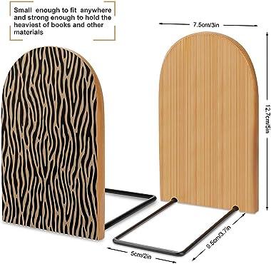 Tiger Or Zebra Light Brown Wooden Book End Office Desktop Bookend Art Bookshelf for Book Shelves 5X3 Inch