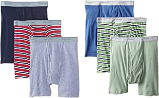Fruit of the Loom Mens Cotton Boxer Briefs 6-PK Assorted