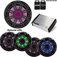 """Kicker Marine Stereo System Package - Two Pairs of OEM 6.5"""" Kicker LED Speakers, a KM 10"""" Subwoofer, and a KXM4004 Amp"""