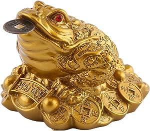 Sapo de Moneda Estatua de Escuerzo Atrae Riqueza y Buena Suerte Estatua de Sapo para Decoración de Hogar Coche(65 × 60 × 50 mm -Oro)