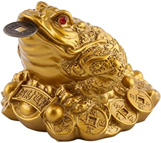 Chinese Feng Shui Money Frog, Wealth Lucky Money Toad Office Ornament Lucky Frog with Coin in Mouth Attract Wealth and Goo...