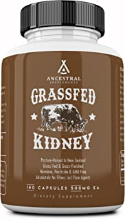 Ancestral Supplements Kidney (High in Selenium, B12, DAO) � Supports Kidney, Urinary, Thyroid, Histamine Health (180 Capsules)