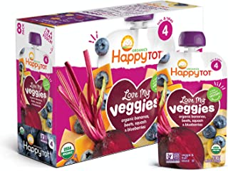 Happy Tot Organic Stage 4 Baby Food Love My Veggies Banana Beet Squash & Blueberry, 4.22 Ounce Pouch (Pack of 16) (Packaging May Vary)