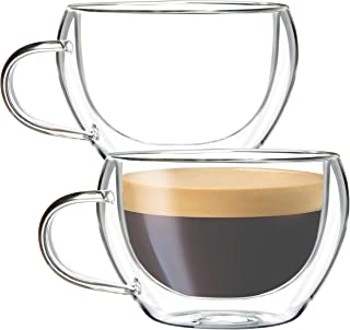 Youngever 2 Pack Glass Espresso Mugs, Double Wall Thermo Insulated Glass Coffee Cups, Glass Coffee Mugs, 5.5 Ounce (Wide)