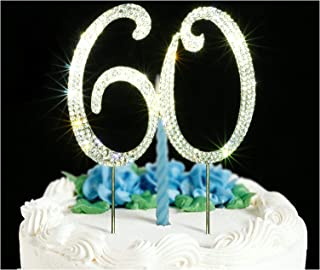 60 Cake Topper | Premium Bling Crystal Rhinestone Diamond Gems | 60th Birthday or Anniversary Party Decoration Ideas | Quality Metal Alloy | Perfect Keepsake …