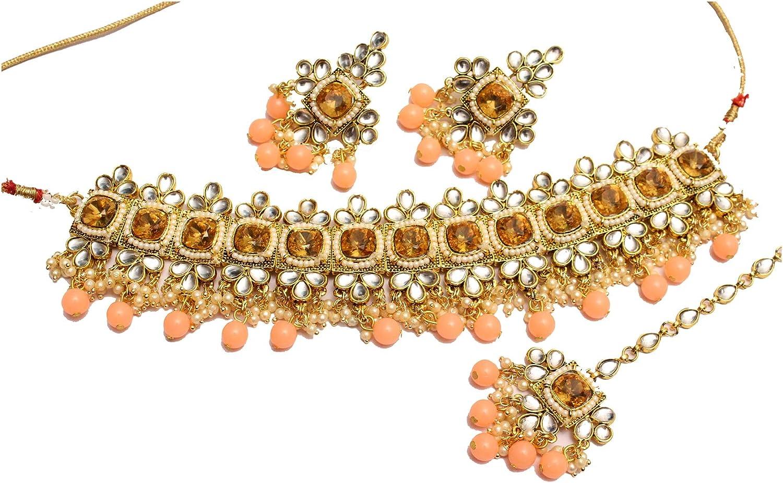 Glamorous Collection Coral Orange Choker Necklace Set Kundan Indian Jewelry Wedding Necklace Ethnic Bollywood Jewelry Set