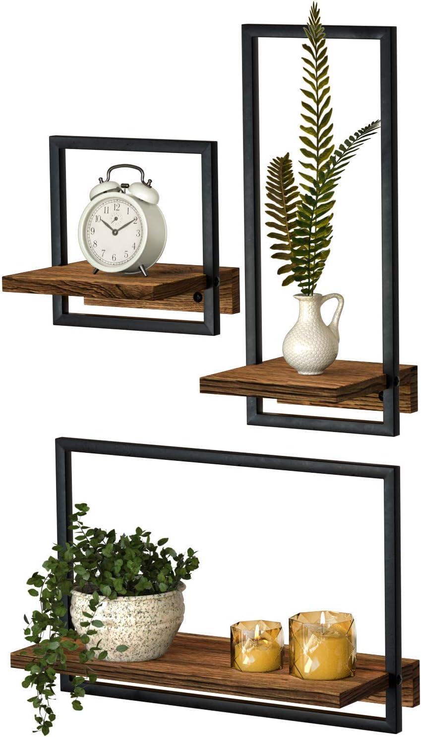DELFOY Metal Frame Rustic Wooden Floating Hanging Shelves, Home Decor Wall Mounted Display Organizing Shelf for Living Room, Bedroom, Office Bathroom. Set of 3