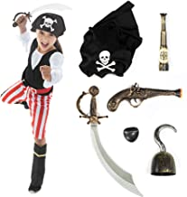 Hauntlook Deluxe Caribbean Pirate Costume & Accessory Kit - Includes 6 Props & Outfit