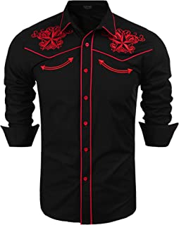 Men's Long Sleeve Floral Embroidered Shirts Western Denim Button Down Shirt