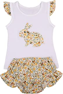 Shalofer Little Girls Bunny Outfit Colorful Floral Skirt Set
