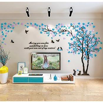 Asvert Stickers Arbre Mural 3D Autocollants en Acrylique avec des Feuilles et des Oiseaux pour D/écoration de la Maison Double Arbre, Bleu