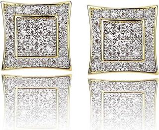 گوشواره های طناب کشی بزرگ طلای 14k مردانه گوشواره های گل میخ پیچدار پیچیده شده جواهرات هیپ هاپ با الماس شبیه سازی شده