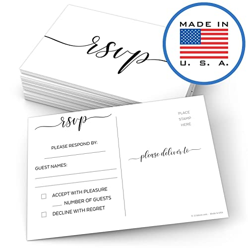 "321Done RSVP Postcards 4"" x 6"" (Set of 50) - Blank with Mailing Side, Response Cards for Wedding, Bridal Shower, Baby Shower - Made in USA, Elegant Script White"