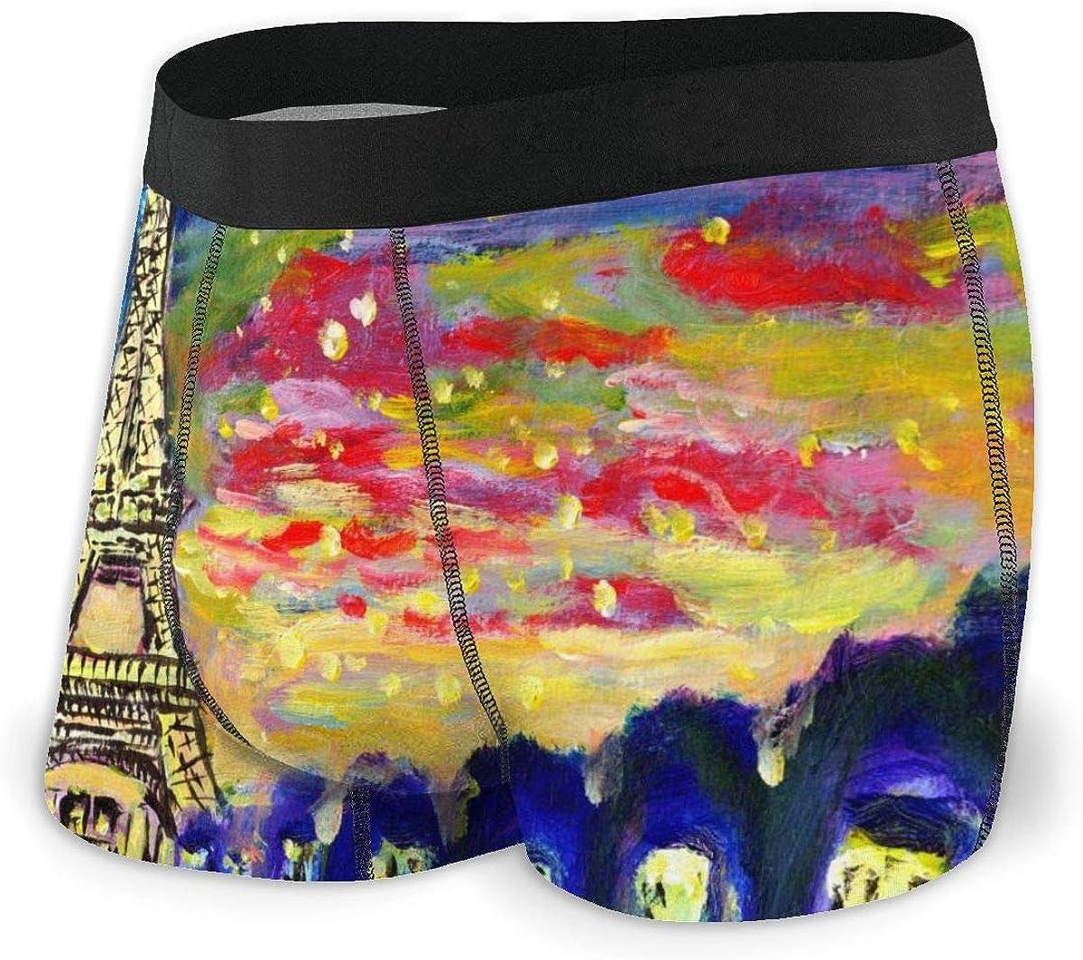 Mens Boxer Briefs Oil Painting Sunset Paris Vector Breathable Underwear
