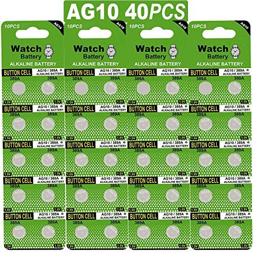 Confezione da 40 pacchi batteria alcalina batteria a bottone AG10/LR54/LR1130/389 1.5V Confezione da 40 batterie