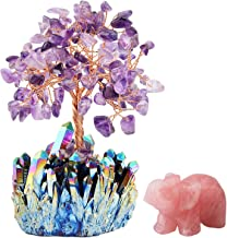 mookaitedecor Amethyst Crystal Money Tree Crystals Base & Rose Quartz Elephant Statue Figurine for Feng Shui, Wealth and Luck