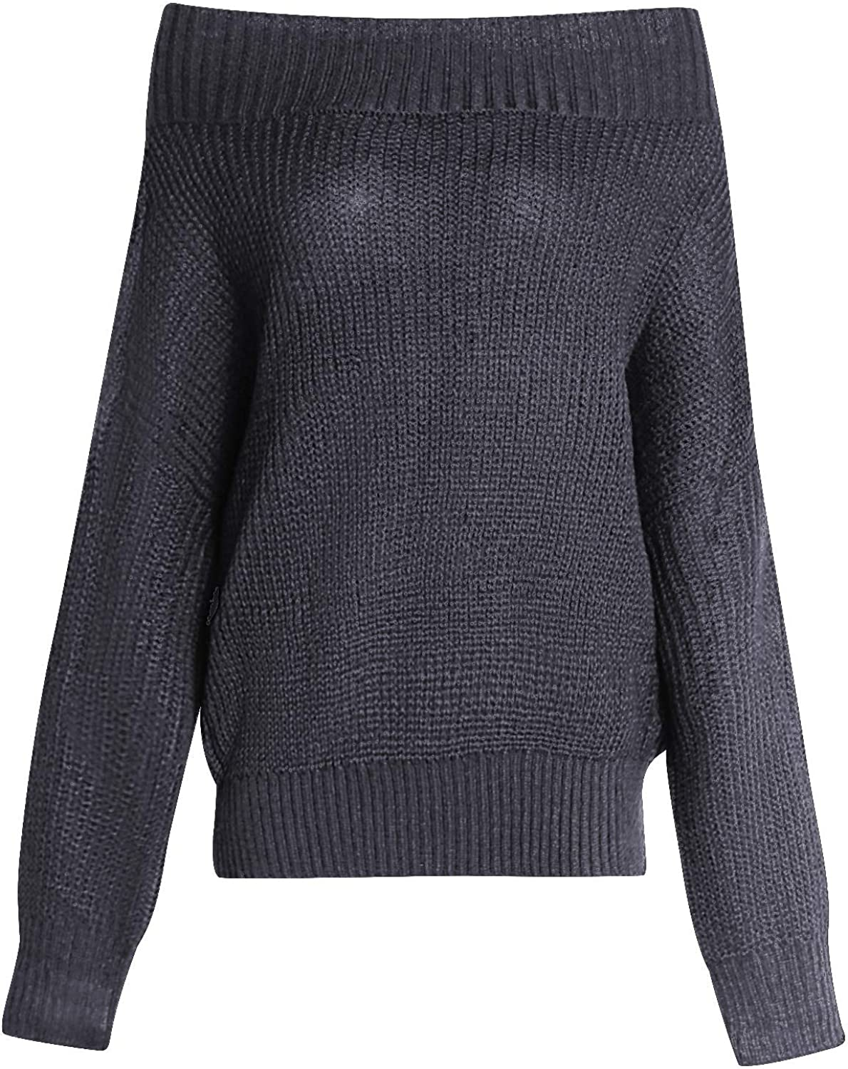 INIBUD Women Off Shoulder Sweater Batwing Sleeve Pullover Oversized Knit Sweaters Oversized Long Sleeve Tops