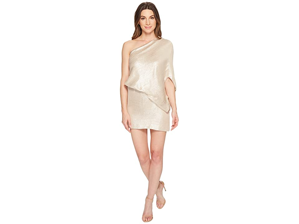 Halston Heritage One Shoulder Jacquard Sleeve Dress (Metallic Champagne) Women