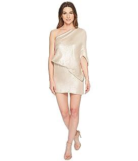 One Shoulder Jacquard Sleeve Dress