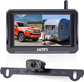 $119 » AMTIFO HD 1080P Digital Wireless Backup Camera with 5'' Monitor for Trucks,Cars,Campers,Vans, Observation System with Stab...