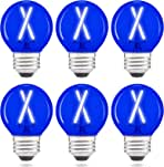 Dimmable A15/A50 E26 LED Blue Light Bulb 25W Equivalent, 200 Lumens, AIELIT 2-Watt Globe LED Filament Edison Bulbs for Bedroom Porch Desk lamp Wall Sconce Holiday Home Decoration, 6-Pack