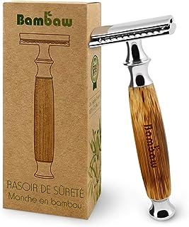 Rasoir de Sécurité avec Manche en Bambou | Rasoir de Sûreté | Traditionnel & Durable | Respectueux de l'environnement | Ba...