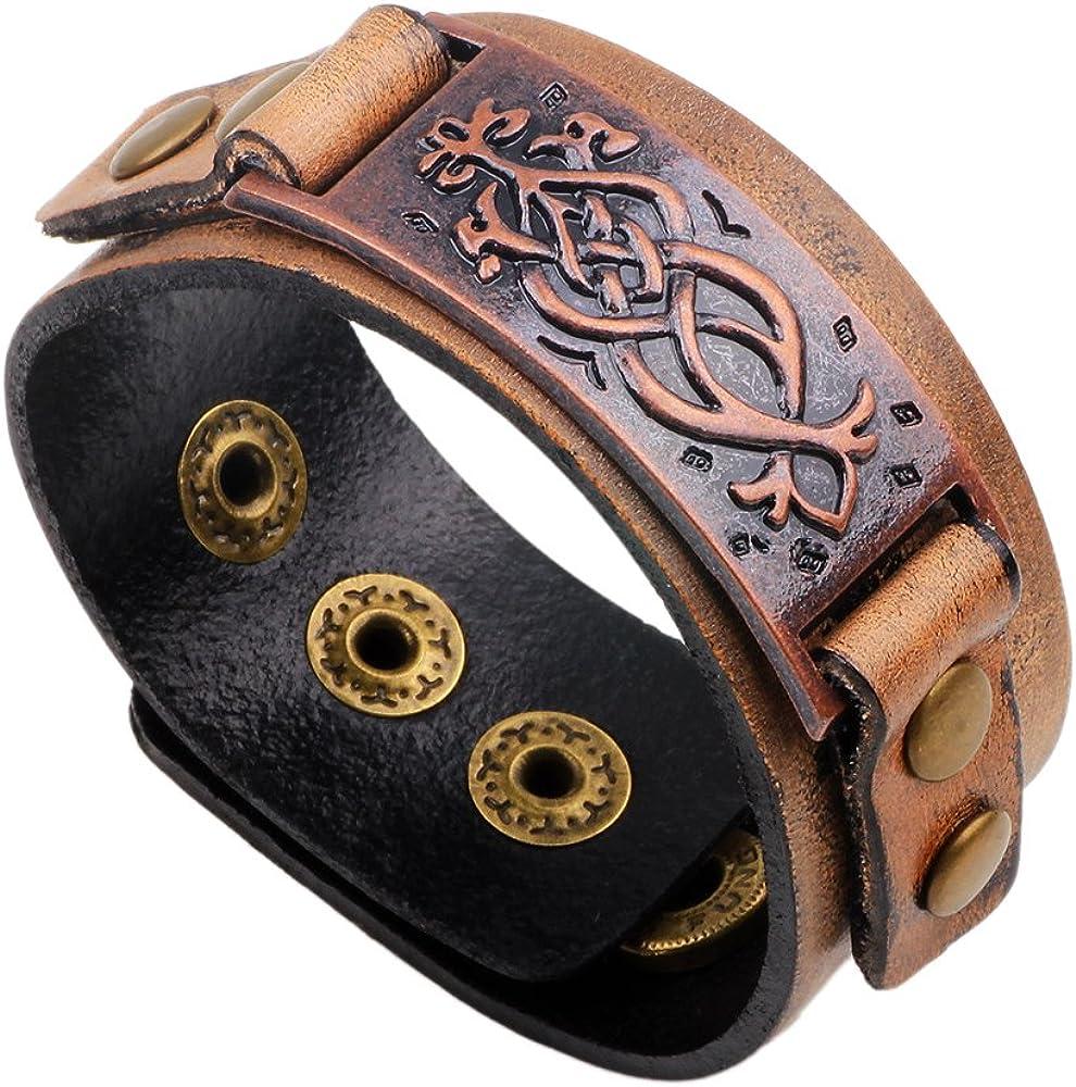 TURTLEDOVE Dara Celtic Knot Bracelet - Viking Bracelet with Vintage Totem - Metal Leather Bracelet Adjustable
